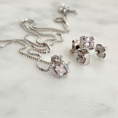 Morganite set in 18k white gold